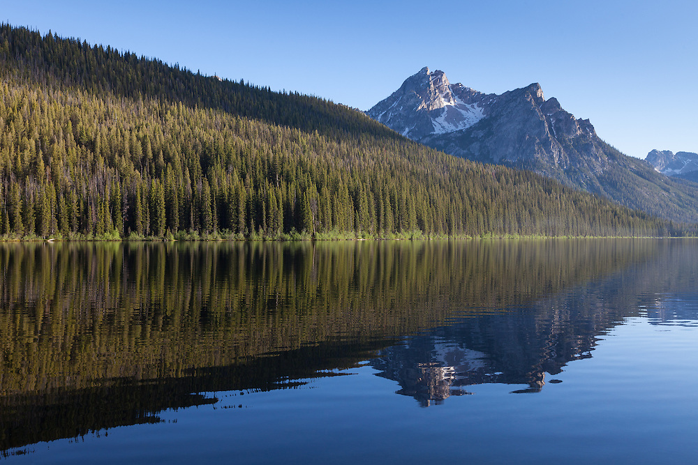 McGown Peak at 9860 feet 3005 meters reflects with lodgepole pine forest in the tranquil surface of Stanley Lake in the Sawtooth Mountain Range near Stanley Idaho.  Recreation area for boating, fishing, camping, hiking, rock climbing, backpacking.Licensing and Open Edition Prints.