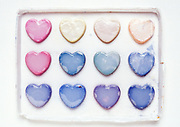 back view of paint box with paint in heart form