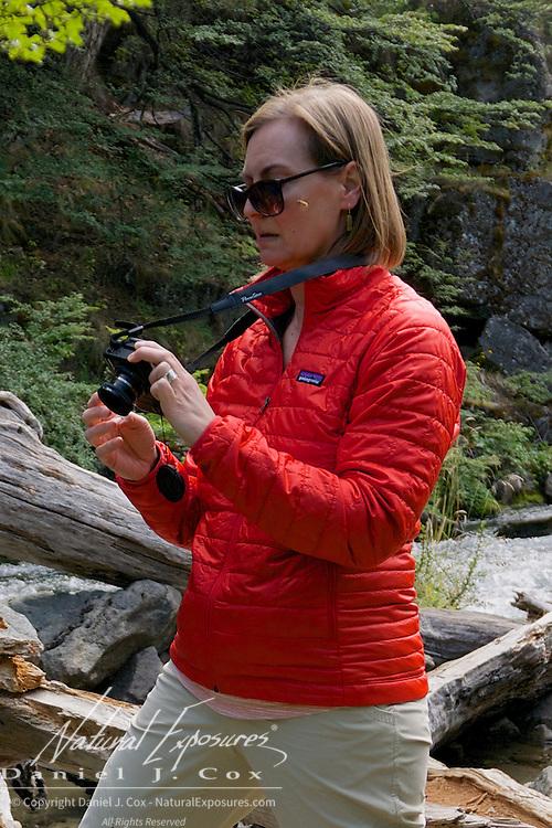 Laura working the waterfall at Los Glaciares National Park, Santa Cruz, Argentina. Patagonia