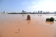 """NANNING, CHINA - SEPTEMBER 21: (CHINA OUT) <br /> <br /> Flood Peak Arrives At Nanning<br /> <br /> A stone statue is submerged by flood at Minsheng Square on September 21, 2014 in Nanning, Guangxi province of China. The highest water level at Yongjiang River in a year comes as Typhoon \""""Kalmaegi\"""" hit Nanning on September 20. The flood peak runs up to 74.83 meters and has been a biggest flood peak since 2008. <br /> ©Exclusivepix"""