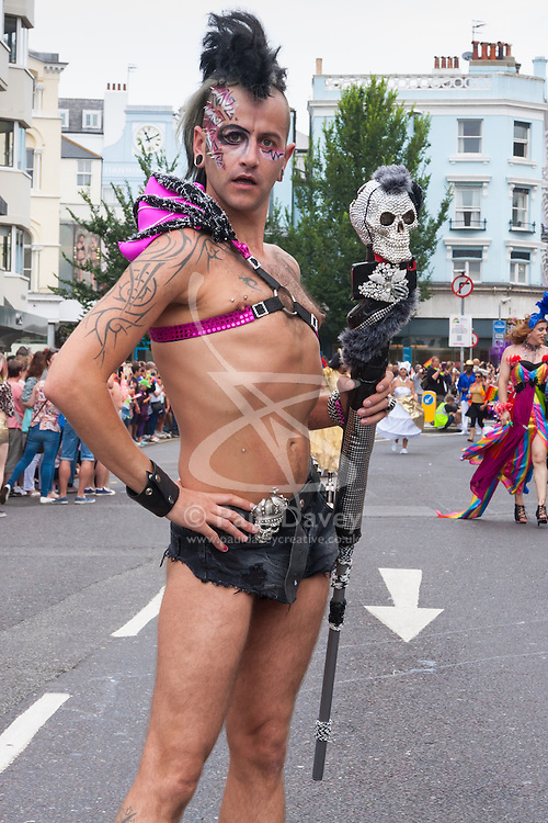 Brighton, August 2nd 2014. A Brighton Pride reveller poses for the camera.