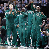 14 May 2012: Boston Celtics point guard Keyon Dooling (51), Boston Celtics center Greg Stiemsma (54) and Boston Celtics shooting guard Marquis Daniels (4) celebrate during the Philadelphia Sixers 82-81 victory over the Boston Celtics, in Game 2 of the Eastern Conference semifinals playoff series, at the TD Banknorth Garden, Boston, Massachusetts, USA.