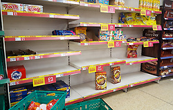 © Licensed to London News Pictures. 15/03/2020. London, UK. Iceland store in London runs low on cereals products as panic-buying continues in supermarkets amid an increased number of coronavirus (COVID-19) cases in the UK. 35 coronavirus victims have died and 1,372 cases have tested positive of the virus in the UK. Photo credit: London News Pictures