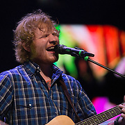 Musician Ed Sheeran performs on stage at the Amway Center on Tuesday, September 8, 2015 in Orlando, Florida.  (Alex Menendez via AP)