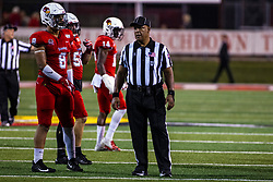 NORMAL, IL - September 07: Romeo McKnight  and Scott Jones wait for the action to restart during a college football game between the ISU (Illinois State University) Redbirds and the Morehead State Eagles on September 07 2019 at Hancock Stadium in Normal, IL. (Photo by Alan Look)