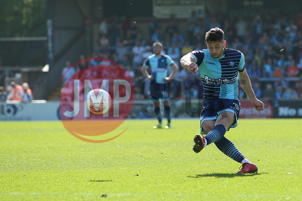 Joe Jacobson of Wycombe Wanderers free kick - Mandatory by-line: Jason Brown/JMP - 05/05/2018 - FOOTBALL - Adam's Park - High Wycombe, England - Wycombe Wanderers v Stevenage - Sky Bet League Two