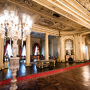 The main entry hall, known as Medhal Hall, of the administrative section of Dolmabahçe Palace. Dolmabahçe Palace, on the banks of the Bosphorus Strait, was the administrative center of the Ottoman Empire from 1856 to 1887 and 1909 to 1922. Built and decorated in the Ottoman Baroque style, it stretches along a section of the European coast of the Bosphorus Strait in central Istanbul.