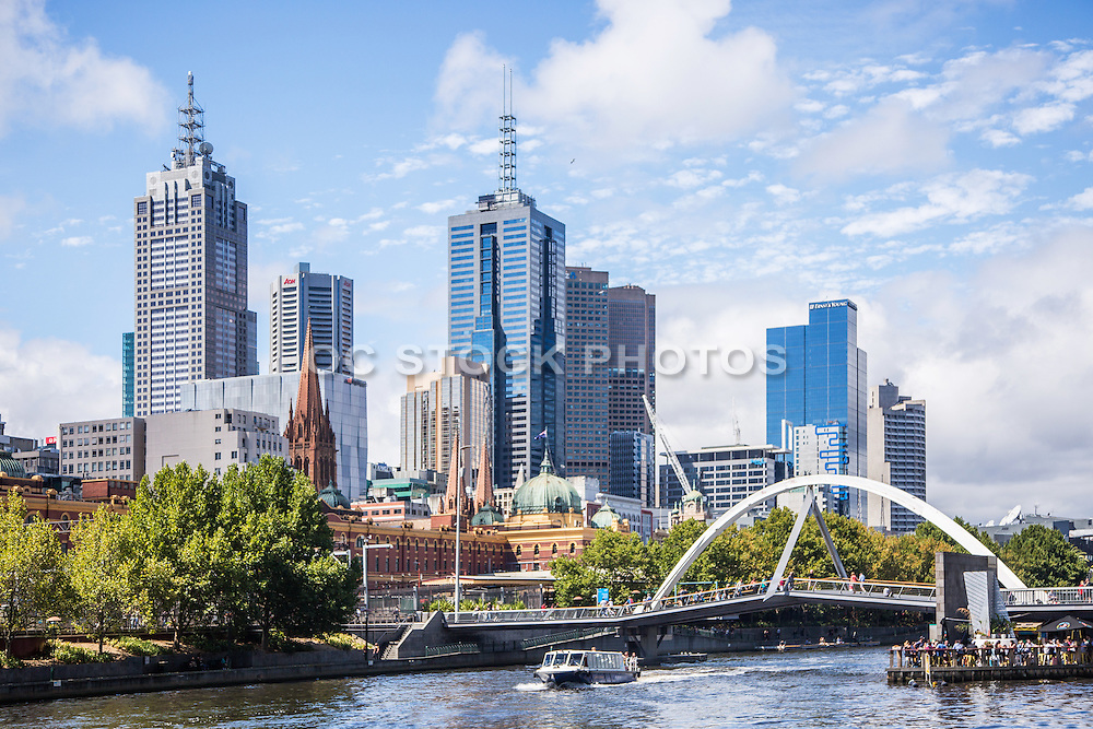 Tour Boat with People Cruising on the Yarra River