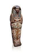 Ancient Egyptian sarcophagus of Royal scribe Butehamon, Thebes, 21st Dynasty, reign of Ramese XI, (1078 or 1077 BC ). Egyptian Museum, Turin. white background<br /> Butehamon was a key figure between the end of the New Kingdom (Twentieth Dynasty, reign of Ramesse XI) and the beginning of the Third Intermediate Period (Twenty-First Dynasty, reign of Smendes). Born into an illustious family he became a man of letters .<br /> <br /> If you prefer to buy from our ALAMY PHOTO LIBRARY  Collection visit : https://www.alamy.com/portfolio/paul-williams-funkystock/ancient-egyptian-art-artefacts.html  . Type -   Turin   - into the LOWER SEARCH WITHIN GALLERY box. Refine search by adding background colour, subject etc<br /> <br /> Visit our ANCIENT WORLD PHOTO COLLECTIONS for more photos to download or buy as wall art prints https://funkystock.photoshelter.com/gallery-collection/Ancient-World-Art-Antiquities-Historic-Sites-Pictures-Images-of/C00006u26yqSkDOM