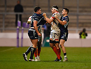 Sale Sharks flanker Jonno Ross  tussles with Connacht's Dave Heffernan during a European Challenge Cup Quarter Final match in Eccles, Greater Manchester, United Kingdom, Friday, March 29, 2019.  (Steve Flynn/Image of Sport)