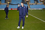 Wimbledon defender Will Nightingale (5) taking a look at the surroundings during the EFL Sky Bet League 1 match between Coventry City and AFC Wimbledon at the Ricoh Arena, Coventry, England on 12 January 2019.