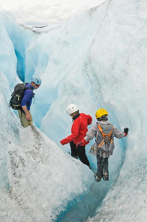 Palmer, Alaska. Trekking on Matanuska Glacier with James and Juliana Whitaker Aikins.  MR