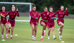 WALLASEY, ENGLAND - Wednesday, July 28, 2021: Liverpool's Jade Bailey (L) and Taylor Hinds (R) during a training session at The Campus as the team prepare for the start of the new 2021/22 season. (Pic by David Rawcliffe/Propaganda)