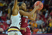 March 18, 2016; Tempe, Ariz;  New Mexico State Aggies guard Shanice Davis (11) looks to pass during a game between No. 2 Arizona State Sun Devils and No. 15 New Mexico State Aggies in the first round of the 2016 NCAA Division I Women's Basketball Championship in Tempe, Ariz. The Sun Devils defeated the Aggies 74-52.