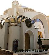 The dome of The Resurrection of Christ Orthodox Cathedral of Tirana. Tirana, Albania. 02Sep15