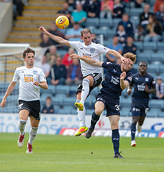 Ayr United's Mark Kerr and Dundee's Craig Wighton. half time : Dundee 0 v 0 Ayr United, Scottish League Cup Second Round, played 18/8/2018 at the Kilmac Stadium at Dens Park, Scotland.