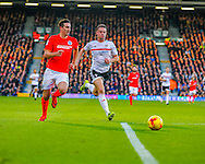 Matt Smith of Fulham and Lewis Dunk of Brighton and Hove Albion during the Sky Bet Championship match at Craven Cottage, London<br /> Picture by Richard Brooks/Focus Images Ltd 07947656233<br /> 02/01/2017