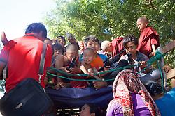 Boys With Play Guns On Local Transportation Near Shwezigon Pagoda