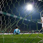 Bursaspor's scores during the Turkish soccer super league match Bursaspor between Fenerbahce at the Ataturk Stadium in Bursa Turkey on Monday, 24 November 2014. Photo by Aykut AKICI/TURKPIX
