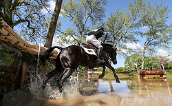 Oliver Townend on Cillnabradden Evo at the Hildon Water Pond on the Cross Country during day four of the 2019 Mitsubishi Motors Badminton Horse Trials at The Badminton Estate, Gloucestershire.