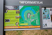 Information panel and map about exploring Coalhouse Fort park, East Tilbury, Thurrock, Essex, England, UK