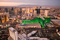 Aerials of MGM Grand and Las Vegas Hotels shot from a Robinson r22 Helicopter