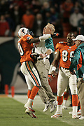 Miami Dolphins defensive back Auturo Freeman chest bumps head coach Jim Bates after making a game clinching interception during the Dolphins 29-28 victory over the New England Patriots on December 20, 2004 at Pro Player Stadium in Miami, Florida.