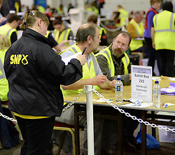 SNP observer watches the count in Edinburgh Peatlands constituency, where they are attempting to fend of a strong Conservative challenge..<br /> © Dave Johnston/ EEm