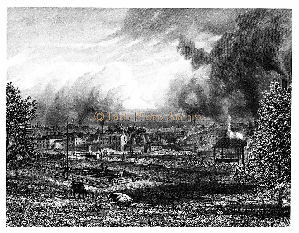 Josiah Wedgwood's (1730-1791) factory, Etruria, Hanley, Staffordshire, England. The Etruria Canal, constructed in order to transport finished wares from the potteries,  is visible below the embankment in the centre of the image. Engraving.