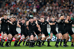 New Zealand's Kieran Read (centre) leads the Haka ahead of the 2019 Rugby World Cup bronze final match at Tokyo Stadium.