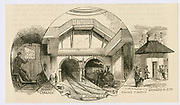 'Portal of the Thames Tunnel at Wapping. Originally for pedestrian and horse traffic, it was converted to rail. The first train passed through on 7 December 1869. Engineer Marc Isambard. Engraving c1885. Brunel.'
