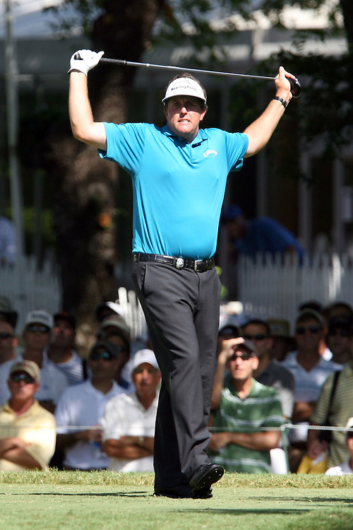 10 August 2007: Phil Mickelson shows discontent after his drive on the 18th hole during the second round of the 89th PGA Championship at Southern Hills Country Club in Tulsa, OK.
