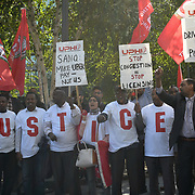 The United Private Hire Drivers and IWGB - Independent Workers Union of Great Britain demonstration Say NO to Mayor of London and TfL plan to make minicab drivers pay £11.50 per day in congestion charging at City Hall on 13 September 2018, London, UK.