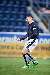 Falkirk's John Baird cele scoring their second goal. <br /> half time : Falkirk 3 v 0 Alloa Athletic, Scottish Championship game played at The Falkirk Stadium.
