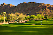 The 9th hole on the Desert Golf Course at the Phoenician Resort in Scottsdale, Arizona.