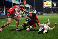 Rugby Union - 2018 / 2019 Gallagher Premiership - Gloucester vs. Exeter<br /> <br /> Gloucester's Ben Morgan celebrates scoring his sides third try with Matt Banahan, at Kingsholm Stadium.<br /> <br /> COLORSPORT/ASHLEY WESTERN
