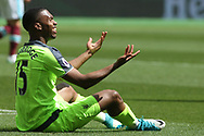 Daniel Sturridge of Liverpool sits on the pitch frustrated after a missed chance to score. Premier league match, West Ham Utd v Liverpool at the London Stadium, Queen Elizabeth Olympic Park in London on Sunday 14th May 2017.<br /> pic by Steffan Bowen, Andrew Orchard sports photography.