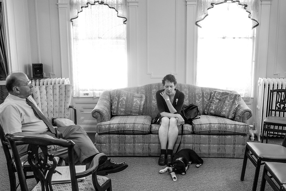 Amelia meets with Randy Garner to talk about possible funeral arrangements for herself at Day Funeral Home in Randolph Monday, July 8, 2013.