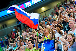 Fans of Slovenia during volleyball match between Cuba and Slovenia in Final of FIVB Volleyball Challenger Cup Men, on July 7, 2019 in Arena Stozice, Ljubljana, Slovenia. Photo by Matic Klansek Velej / Sportida