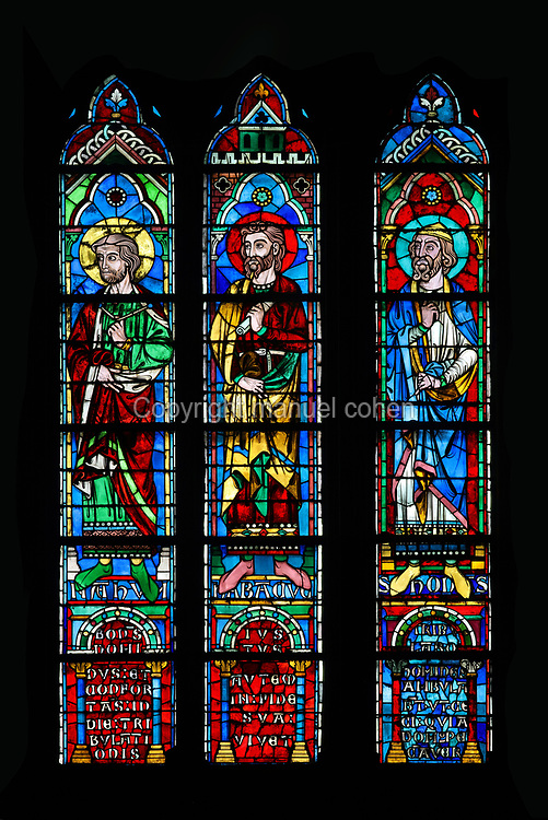 Nahum, Habakkuk and Samuel, 3 of the lancet windows depicting the 16 prophets of the heavenly court, beneath the South rose window, or Rose du Midi, depicting Jesus surrounded by saints, apostles and angels, originally designed by Jean de Chelles and Pierre de Montreuil in 1260, in the South transept of the Cathedrale Notre-Dame de Paris, or Notre-Dame cathedral, built 1163-1345 in French Gothic style, on the Ile de la Cite in the 4th arrondissement of Paris, France. The rose window and its lancets were completely restored from 1861 under Viollet-le-Duc, by master glazier Alfred Gerente. Picture by Manuel Cohen