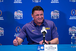 LSU Tigers head coach Ed Orgeron meets with the media, Monday, Dec. 23, 2019, in Atlanta. LSU will face Oklahoma in the 2019 College Football Playoff Semifinal at the Chick-fil-A Peach Bowl. (Paul Abell via Abell Images for the Chick-fil-A Peach Bowl)