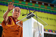 His Holiness the Dalai Lama speaking at the ceremony to award nuns the first Geshe-ma degrees at Drepung Lachi in Mundgod, Karnataka, India on December 22, 2016.