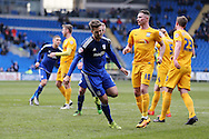 Anthony Pilkington of Cardiff city celebrates after he scores his teams 1st goal from a penalty. Skybet football league championship match, Cardiff city v Preston NE at the Cardiff city stadium in Cardiff, South Wales on Saturday 27th Feb 2016.<br /> pic by  Andrew Orchard, Andrew Orchard sports photography.