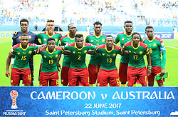 2017?6?23?.   ????????——?????????????????.    6?22?????????????????.    ??????????????2017????????B???????????1?1?????????.    ?????????..(SP)RUSSIA-ST. PETERSBURG-2017 FIFA CONFEDERATIONS CUP-CMR VS AUS..(170623) -- ST. PETERSBURG, June 23, 2017  Starting players of Cameroon pose for a photo prior to the group B match between Cameroon and Australia of the 2017 FIFA Confederations Cup in St. Petersburg, Russia, on June 22, 2017. The match ended with a 1-1 tie.  7 9854294892 (Credit Image: © Xu Zijian/Xinhua via ZUMA Wire)