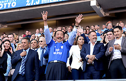 Cardiff City owner Vincent Tan celebrates winning promotion to the Premier League at the end of the Sky Bet Championship match at the Cardiff City Stadium.