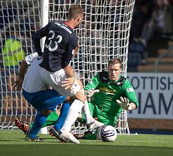 Morton's keeper Derek Gaston saves.<br /> Falkirk 3 v 1 Morton, Scottish Championship 17/8/2013.<br /> ©Michael Schofield.
