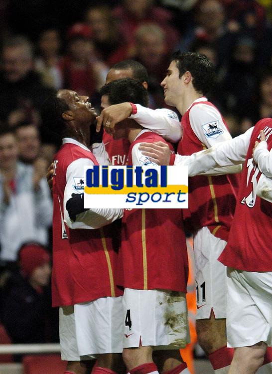 Photo: Olly Greenwood.<br />Arsenal v Charlton Athletic. The Barclays Premiership. 02/01/2007. Arsenal's Justin Hoyte celebrates scoring with his team mates