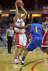 06 December 2008: Sead Odzic looks to pass his way out of trouble being given him by Maze Stallworth during a game where the  Illinois State University Redbirds extended their record to 9-0 with a 76-70 win over the Eagles of Morehead State on Doug Collins Court inside Redbird Arena on the campus of Illinois State University in Normal Illinois