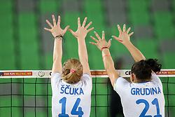 Lana Scuka and Tina Grudina of Slovenia during friendly volleyball match between Slovenia and Azerbaijan, on August 17, 2017 in SRC Stozice, Ljubljana, Slovenia. Photo by Matic Klansek Velej / Sportida