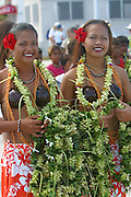 Lei greeters, Mataiva, Tuamotus, French Polynesia, (editorial use only, not model released)<br />